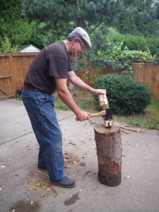 With a chopping block for support, create the taper from the middle to the end with a hatchet. PHOTO BY LISA PIERCE
