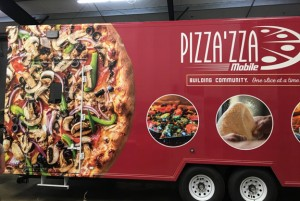 Pizza'zza Mobile, built by TriVan TruckBody, is dressed with Chazzzam Signs & Graphics, with design and photos done by James Haddock. The truck hits the road for customers on April 4.
