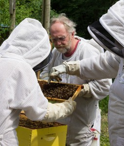 Michael Jaross (middle) provides consulting through Whatcom Bee Help, and is leading a beginning beekeper class at the Chuckanut Center starting this month. COURTESY PHOTO