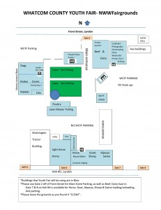 A map of the Whatcom County Youth Fair activities and parking. COURTESY MAP