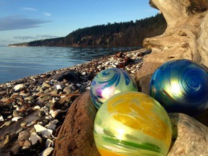 The Great NW Glass Quest offers a fun chance to search local businesses and parks in the Stanwood-Camano area to find a clue ball, which is turned in to receive a locally made glass ball. Photo courtesy of the Great NW Glass Quest