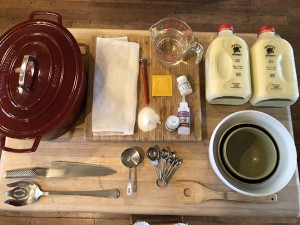 Tools needed include: Cheese bag (I use the garment bags from the dollar store; they are reusable and great for large curd cheeses); 8-quart Dutch oven; a mix of bowls, large and small; knife; meat thermometer; measuring cups and spoons; large slotted spoon; baking sheet with cooling rack; round cheese mold with follower; and 10-pound weights. PHOTOS BY MARISA PAPETTI